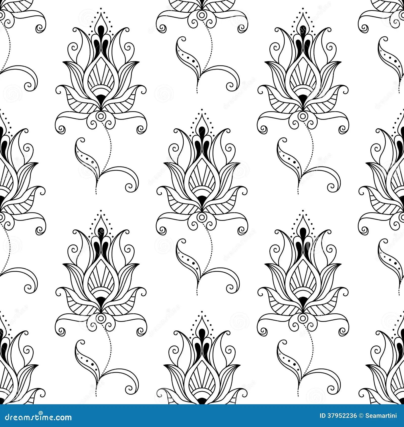 Repeat Seamless Pattern Of Persian Floral Motifs Stock