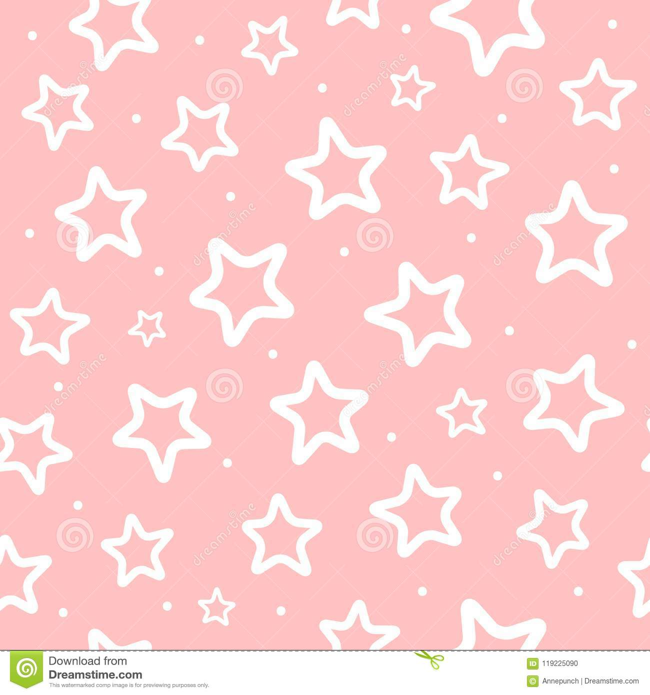 Cute Cartoon Baby Girl Wallpaper Repeated White Round Dots And Outlines Of Stars On Pink