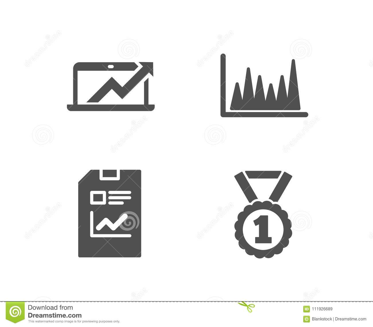 Report Document Line Graph And Sales Diagram Icons Best