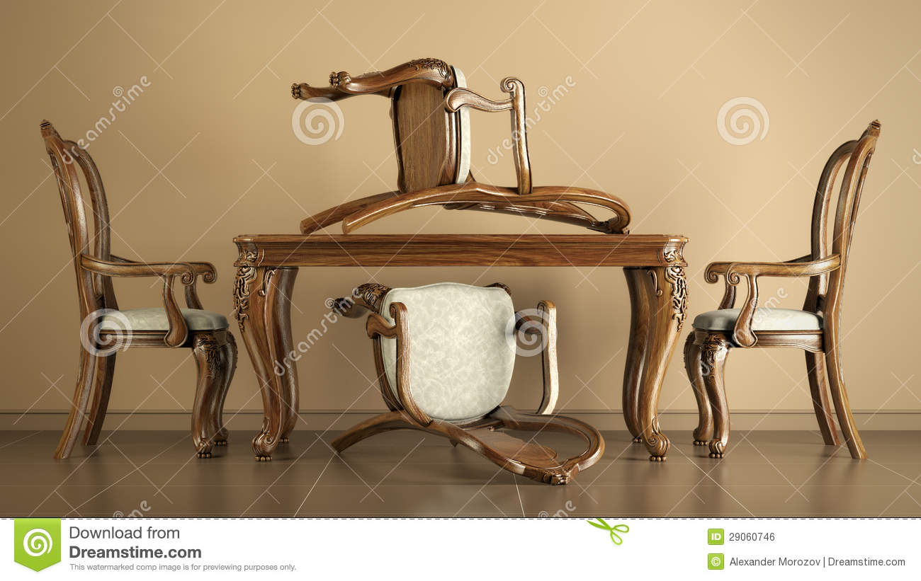 four chair dining set small bedroom occasional reproduction antique chairs and table stock illustration - image: 29060746
