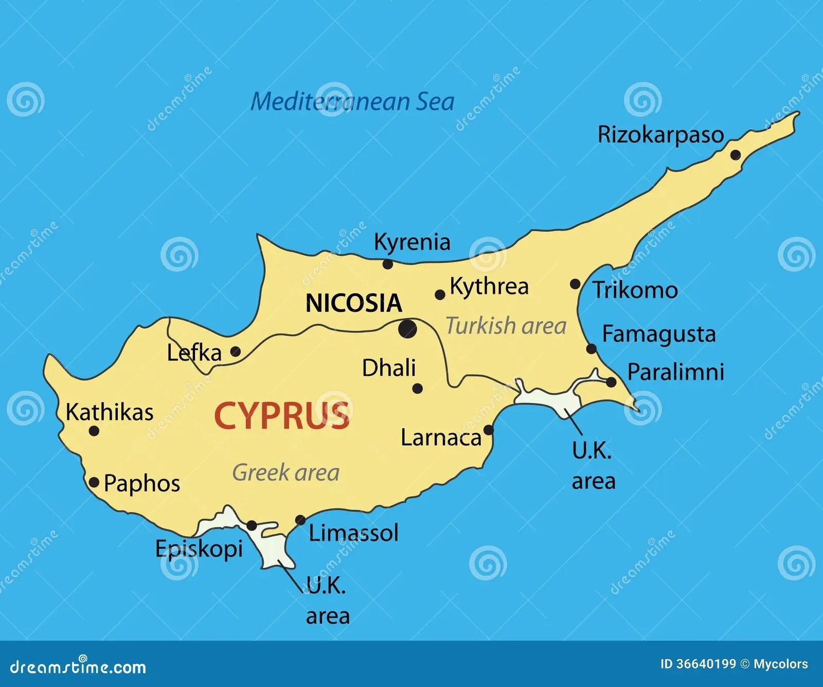 Republic Of Cyprus - Mapa Do Vetor Ilustração do Vetor - Ilustração de azul. estado: 36640199