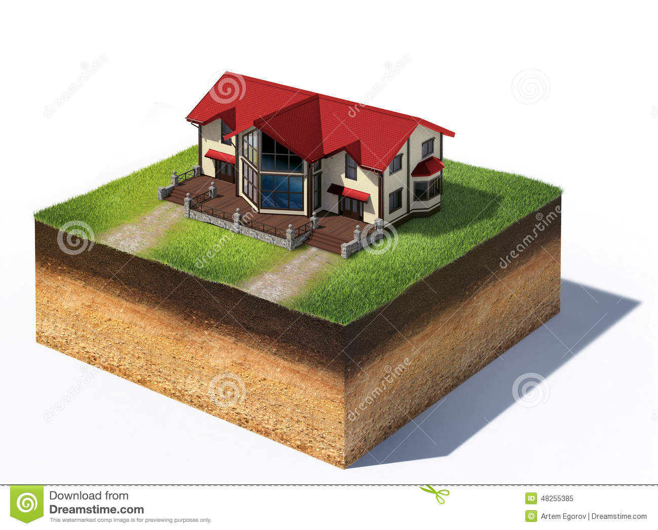 Residential House On Piece Of Land Stock Illustration