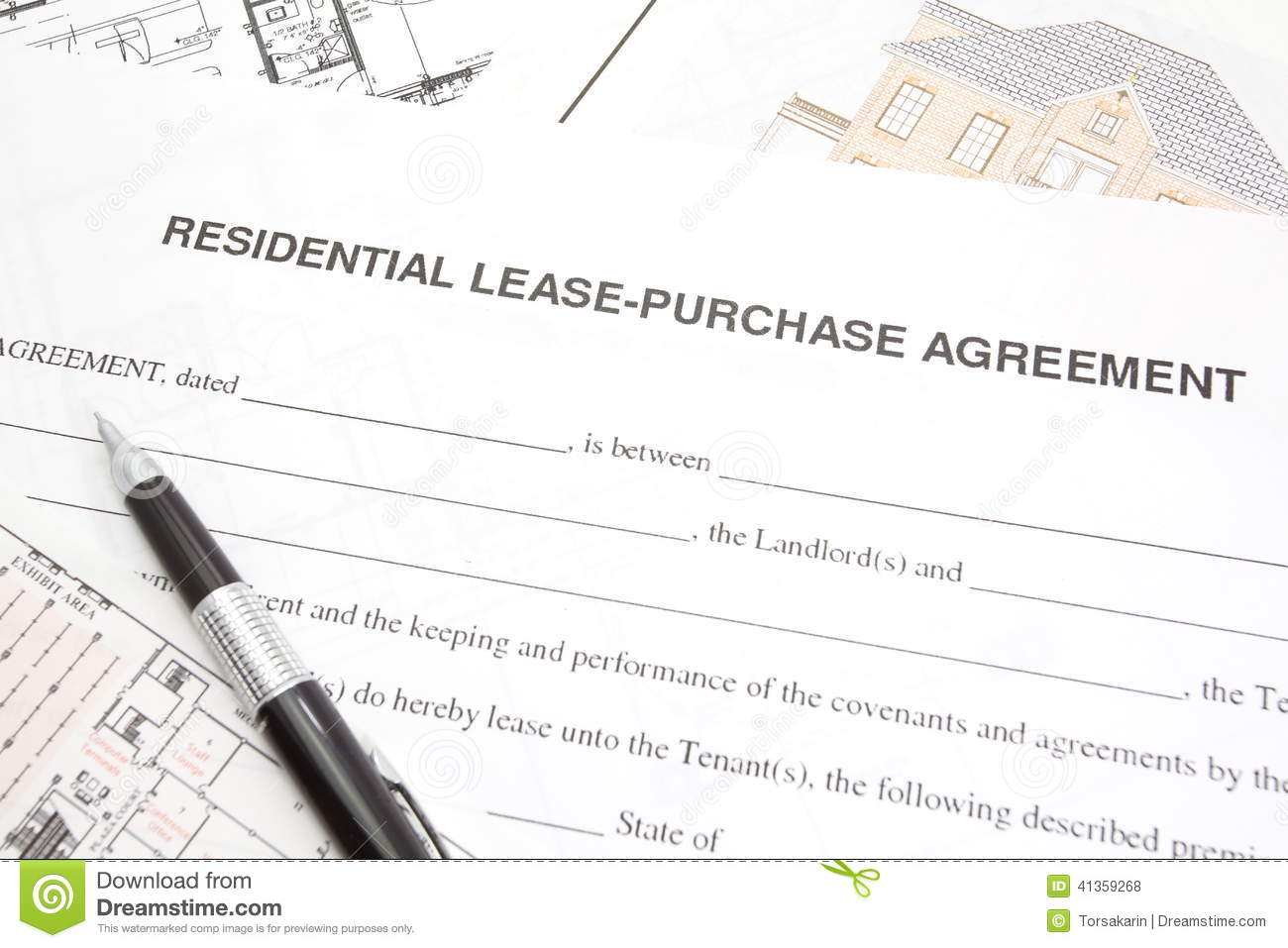 Residential Lease Or Purchase Agreement Stock Photo