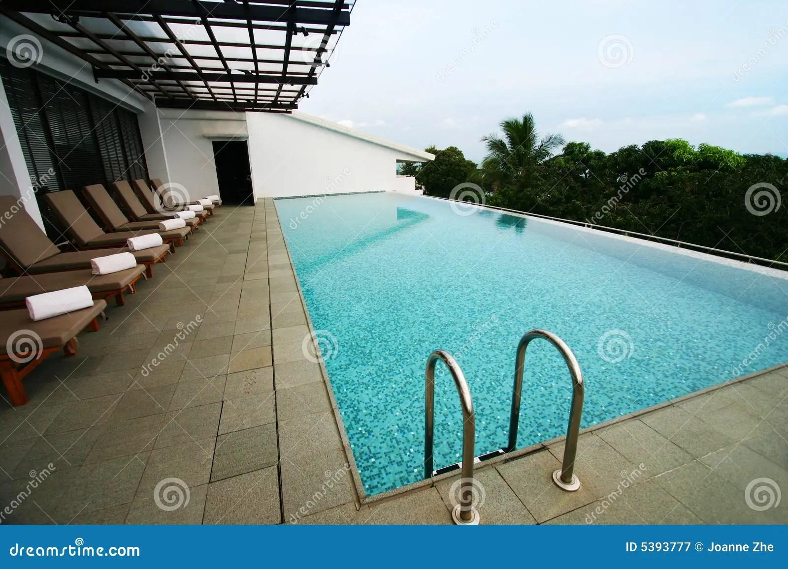 Resort Infinity Pool Roof Top Stock Image  Image of