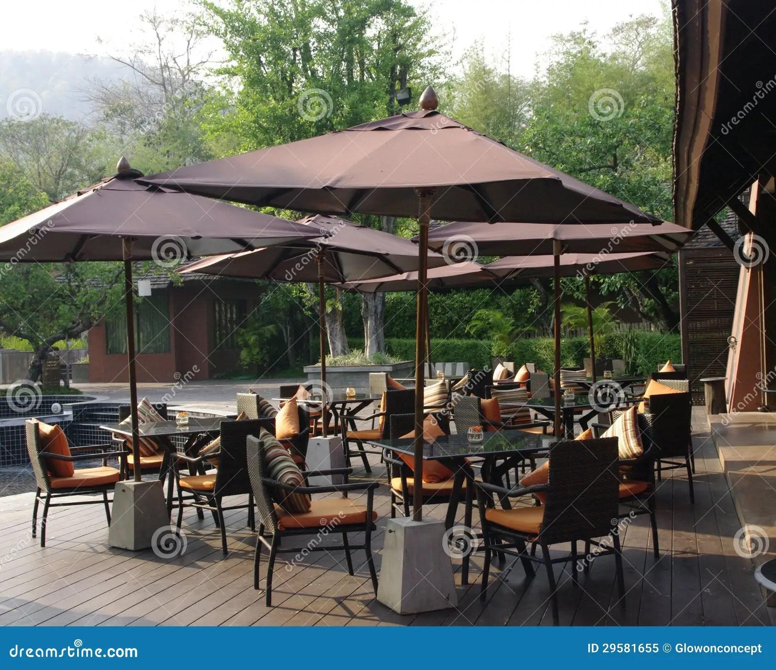 Beautiful Tropical Resort Restaurant Patio Royalty Free