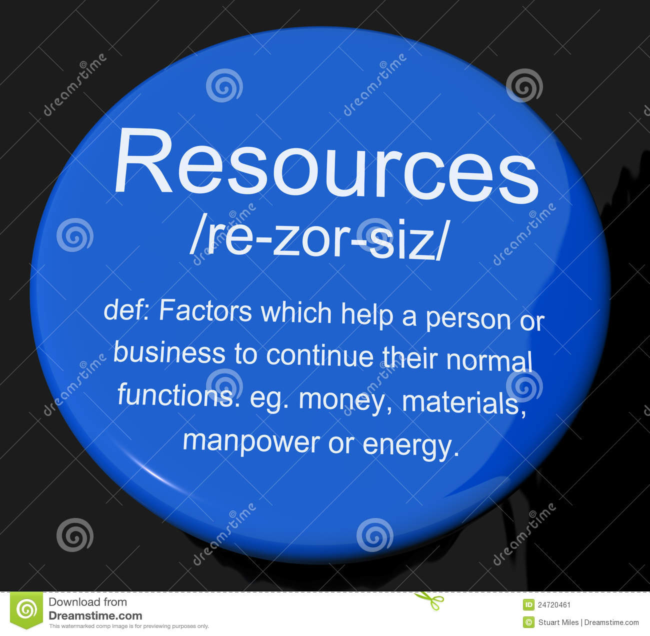 Resources Definition Button Showing Materials Assets And