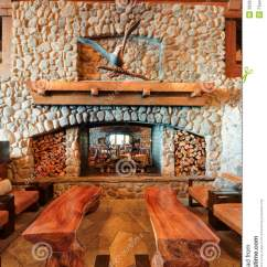 Chairs 4 Less Lawn For Sale Restaurant Bar Fireplace With Wooden Benches Stock Image - Image: 26263271