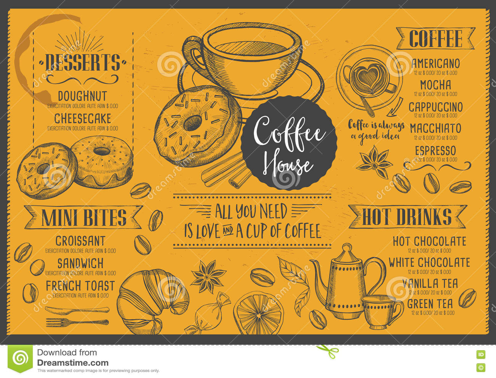Restaurant Brochure Vector, Coffee Shop