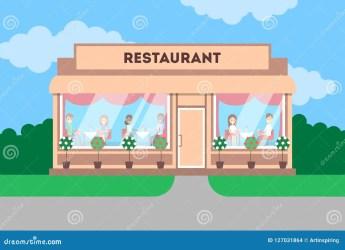 Restaurant Building In The City Cafe Exterior Stock Vector Illustration of diner design: 127031864