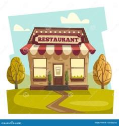 Restaurant Or Cafe Exterior Building Vector Cartoon Illustration Stock Vector Illustration of building grocery: 86298914