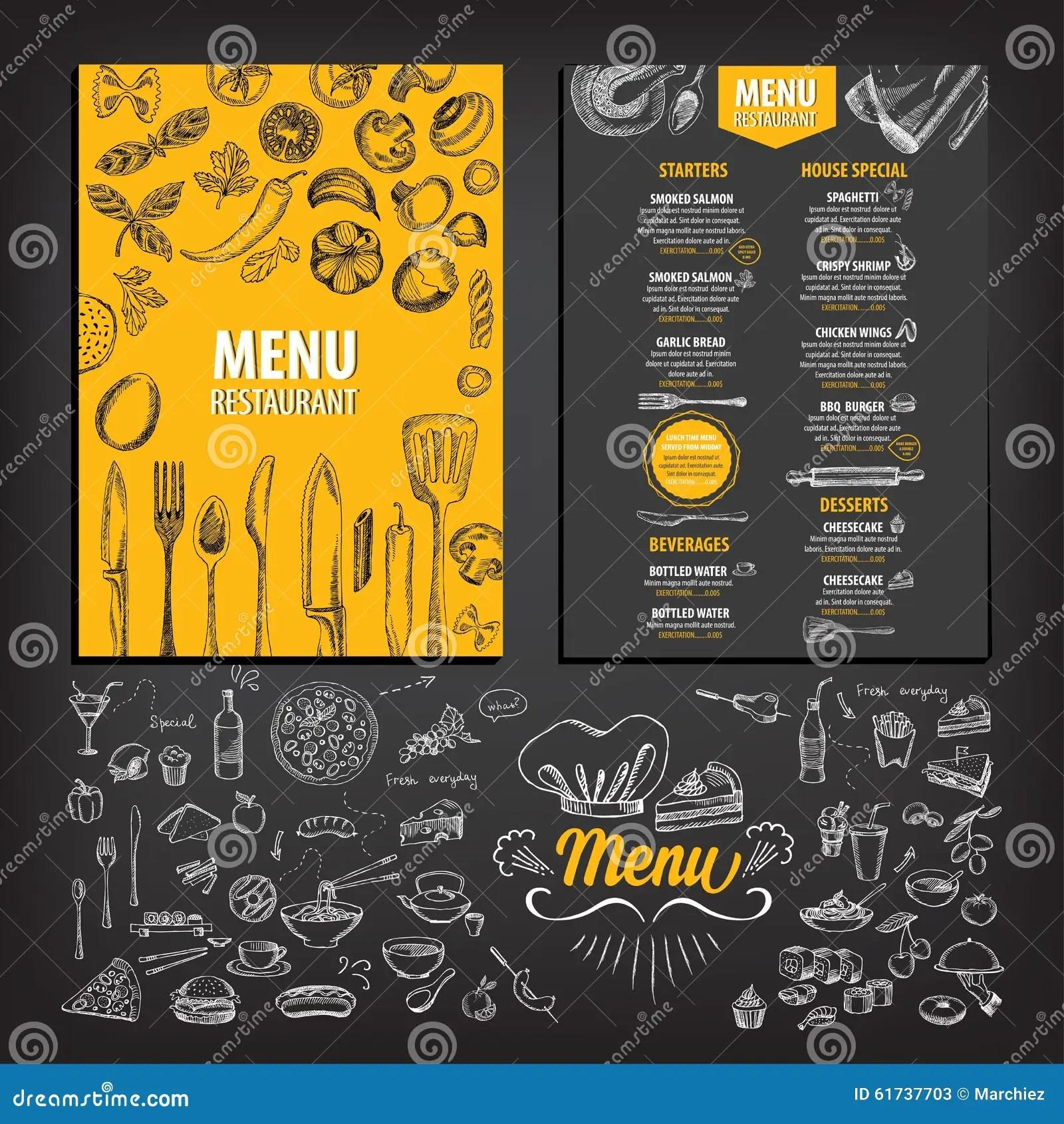 Restaurant Cafe Menu Template Design Stock Vector  Image 61737703