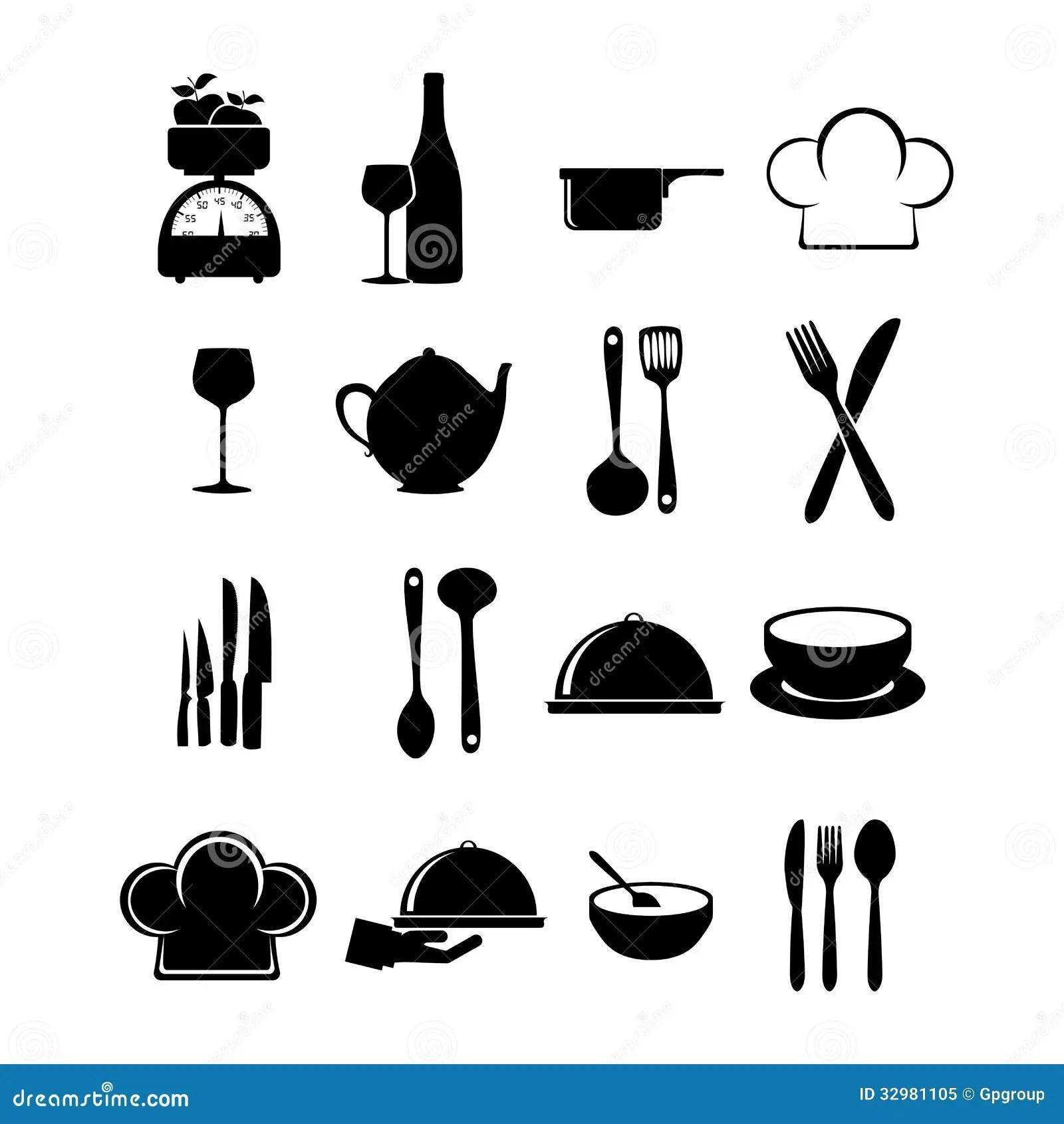 Restaurant Icons Stock Vector Illustration Of Hand