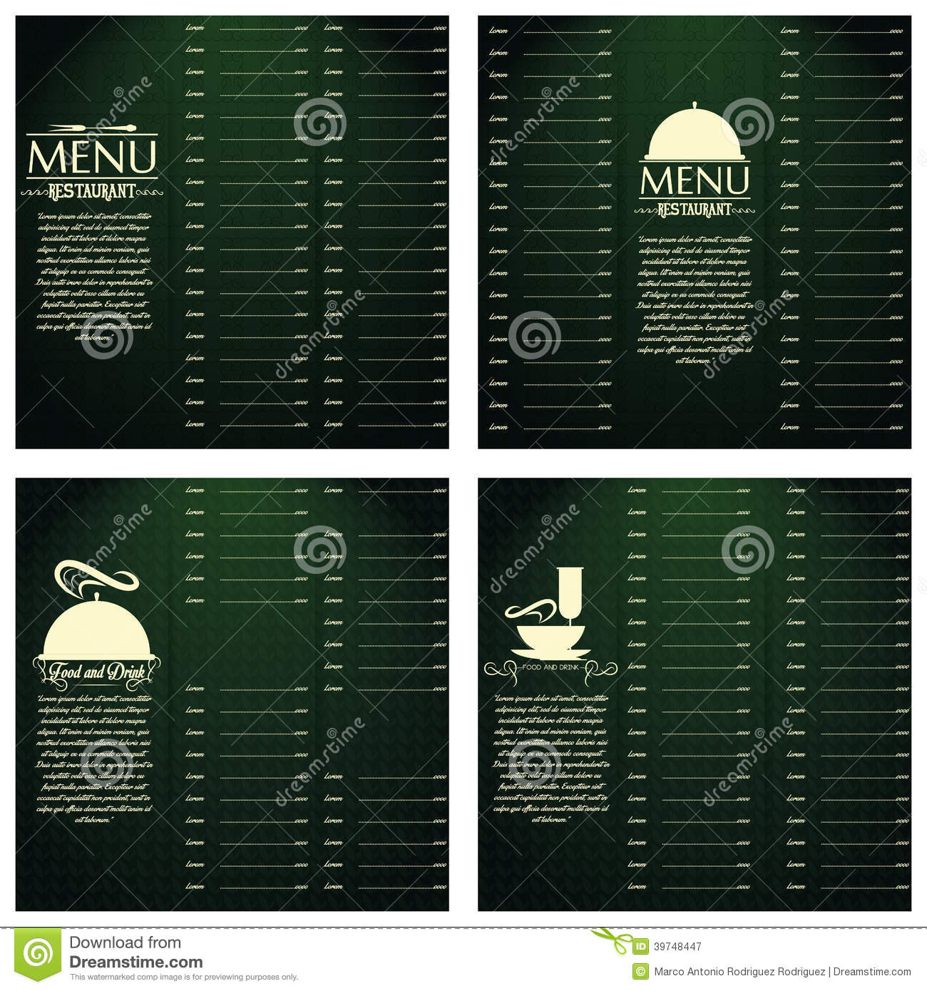 Restaurant Menu Cards Design Template Editable Stock Vector  Image 39748447