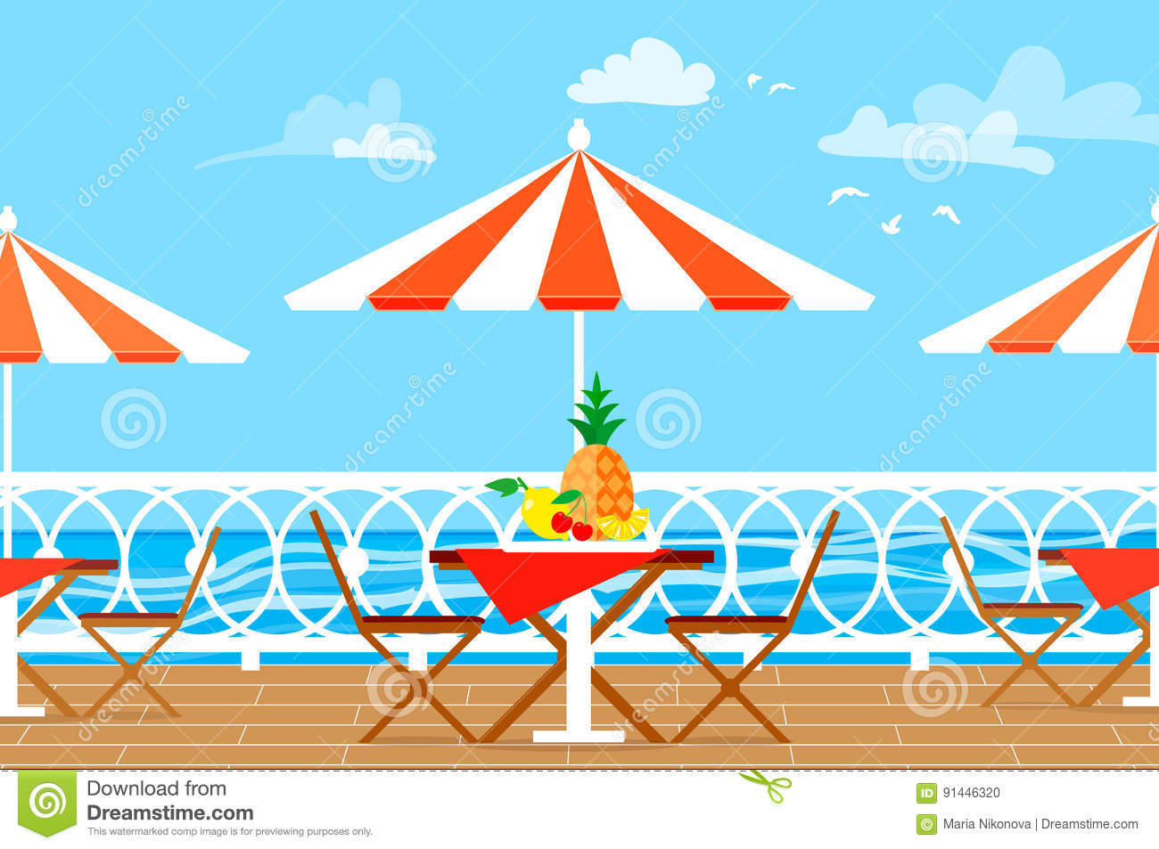 Picnic Chairs Restaurant Patio Picnic Chairs Table And Umbrella On Terrace