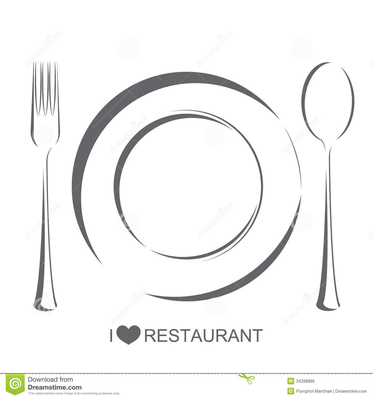Restaurant Plate Fork Spoon Royalty Free Stock Image