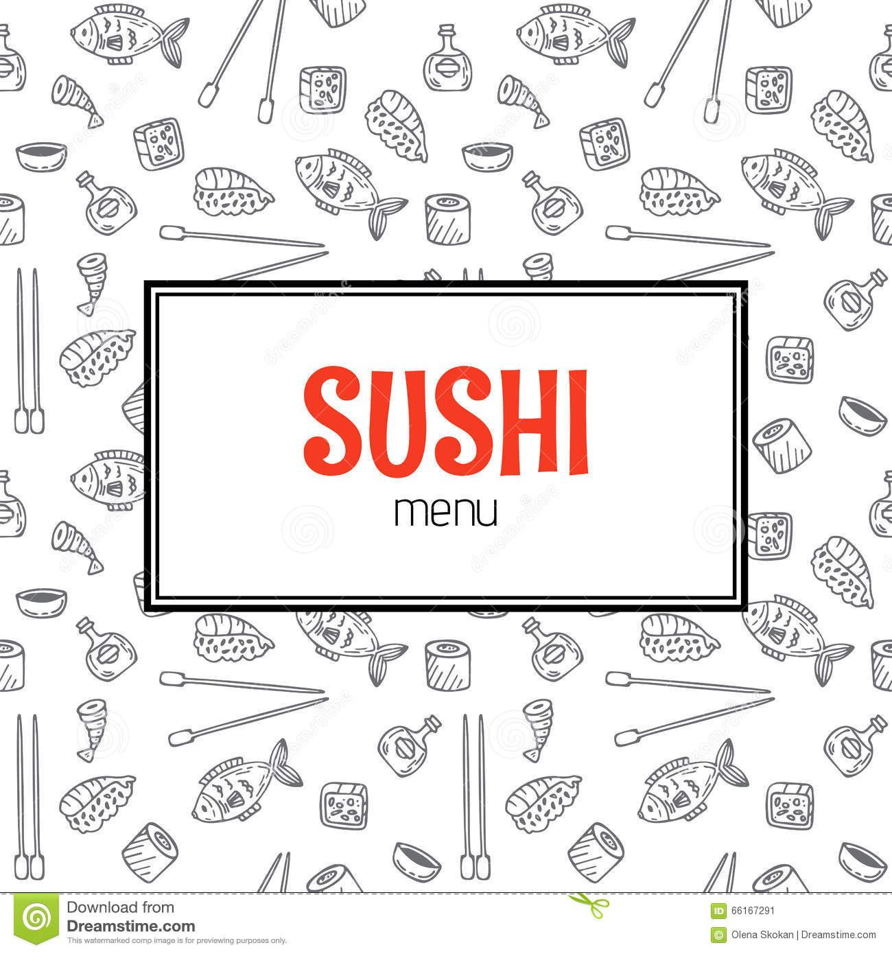 Restaurant Sushi Menu Design. Menu Template With Hand