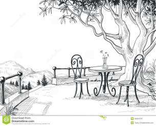 restaurant sketch drawing outdoor scene pencil terrace illustration