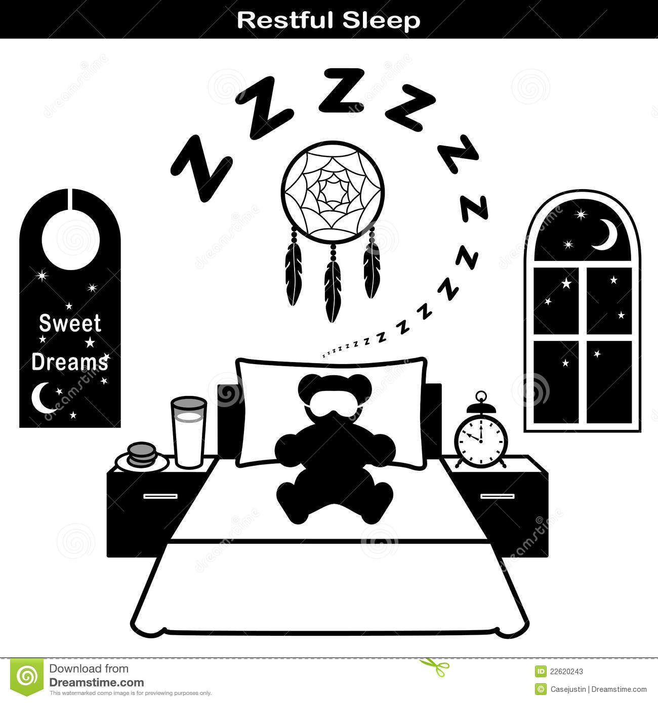 Restful Sleep Icons Stock Vector Image Of Forty Peaceful