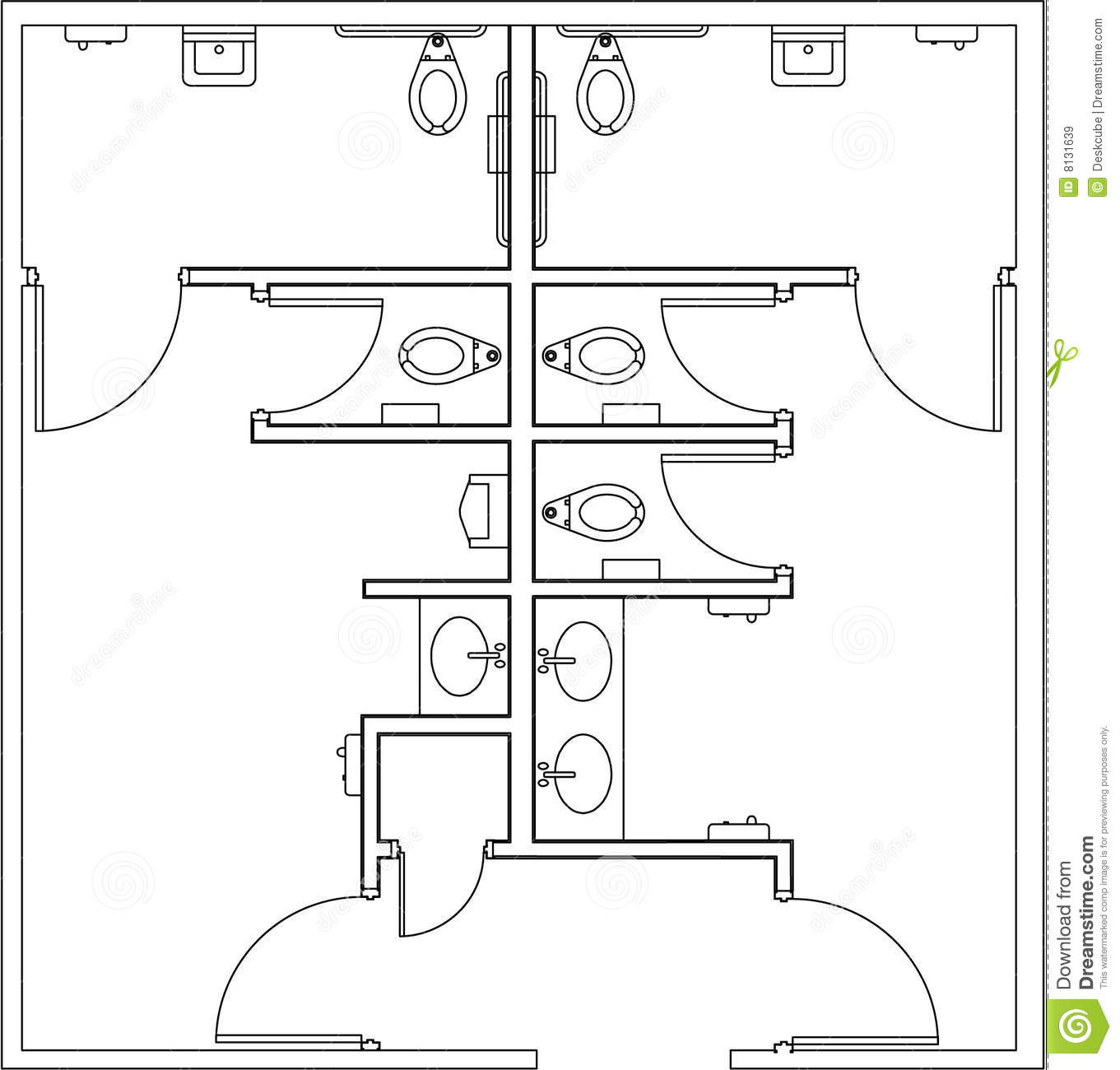 Restrooms Plan Stock Illustration Illustration Of