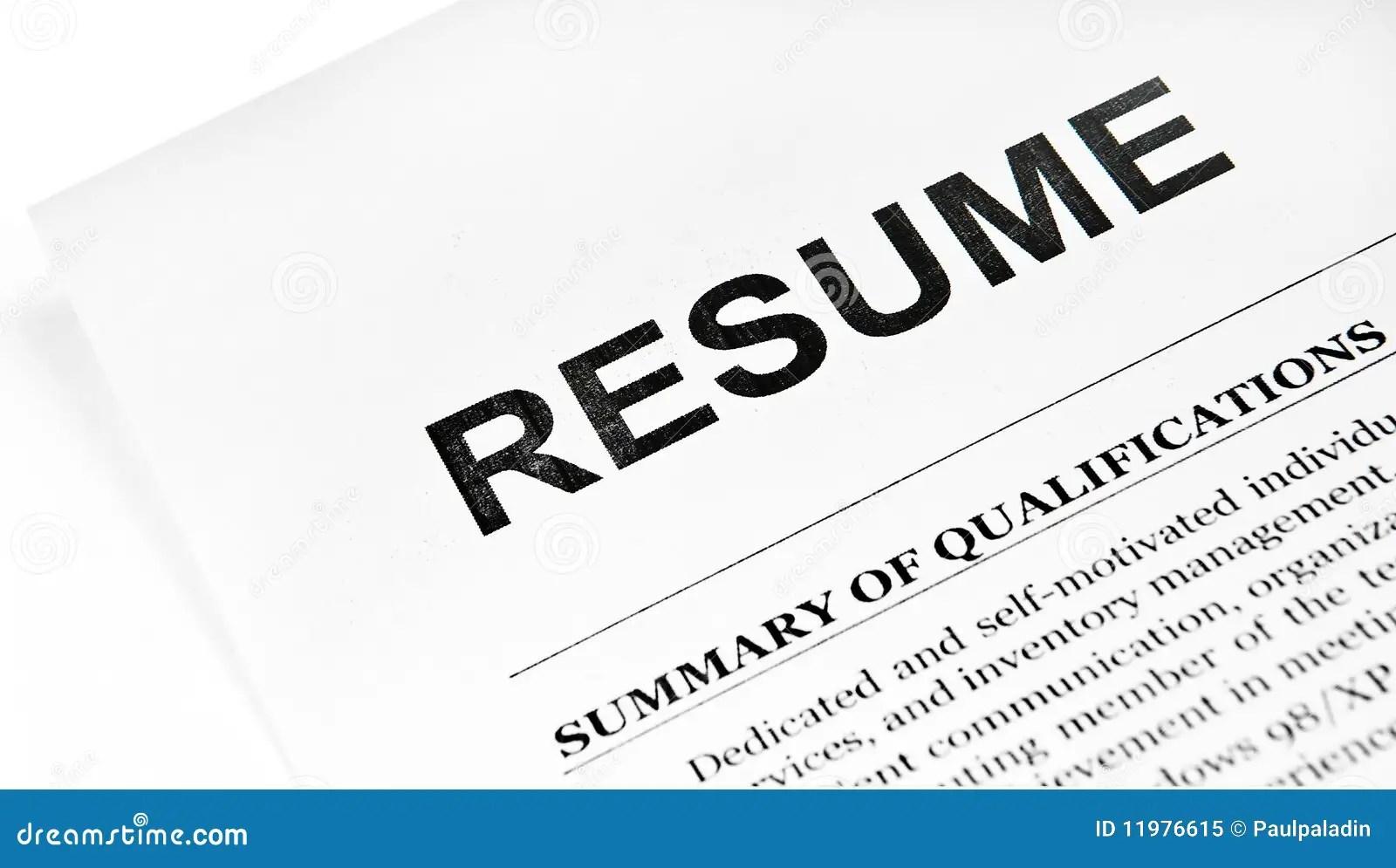 Resume stock image. Image of employment, curriculum, work