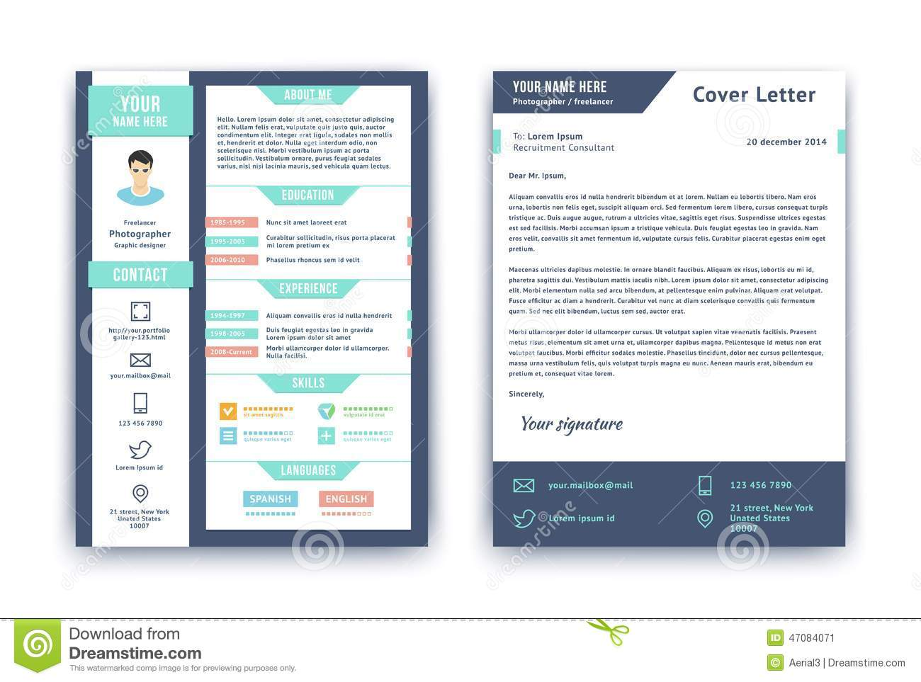 Resume And Cover Letter Template Stock Vector Illustration Of Creative Modern 47084071