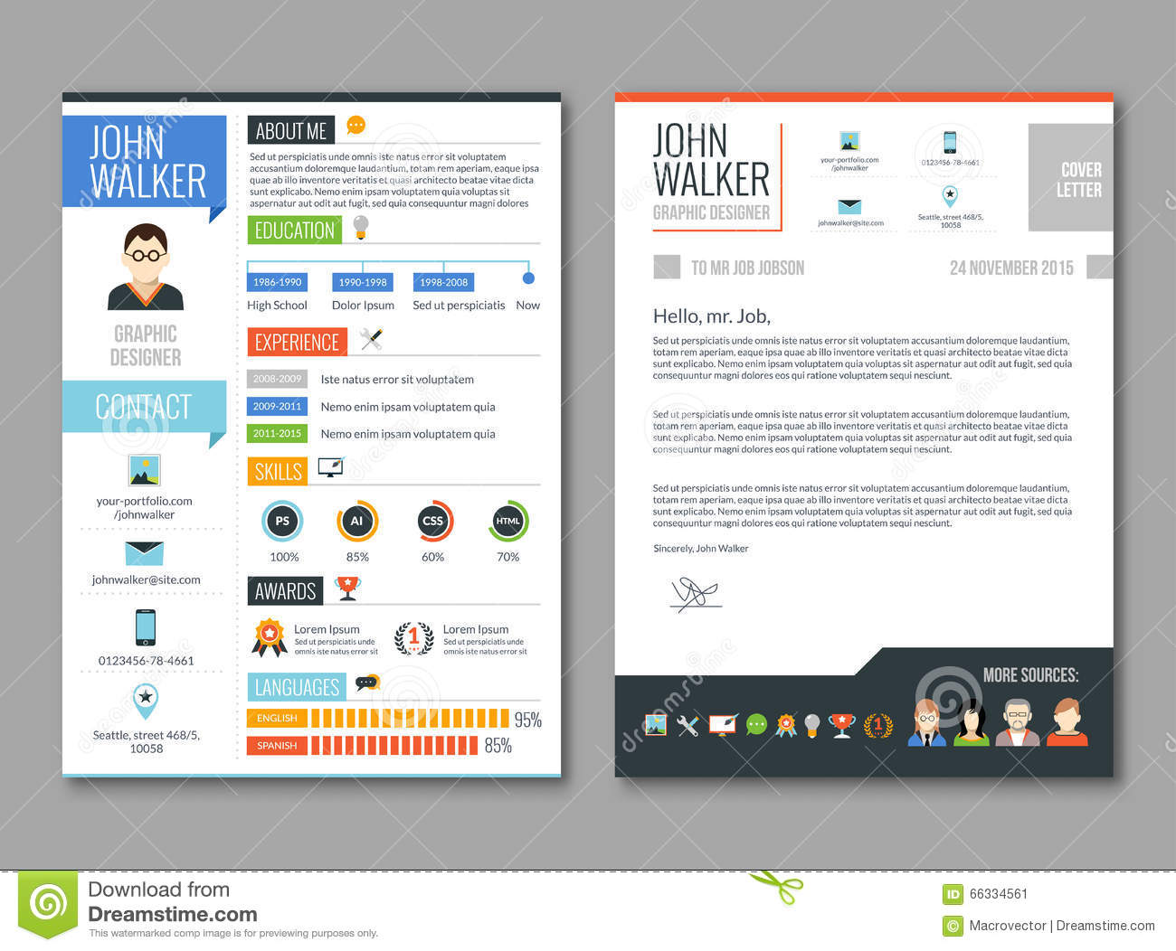 Resume Cv Template Stock Vector Illustration Of Experience