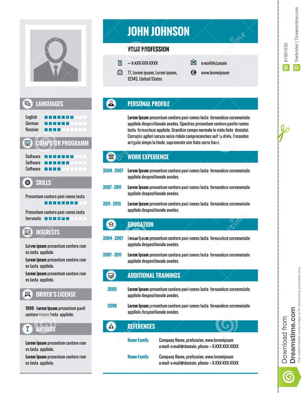 Resume CV Vector Concept Layout In A4 Format Business