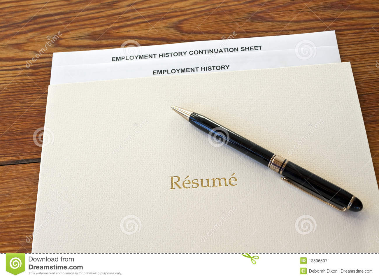 Resume Folder With Pen And Employment History Royalty Free