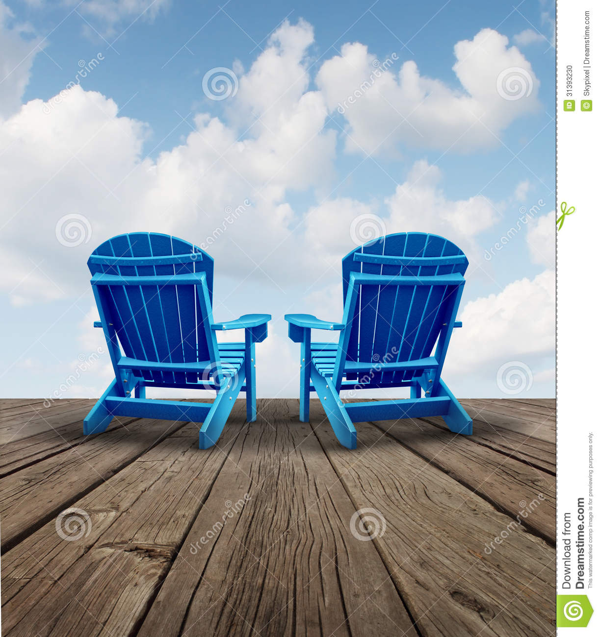 Blue Adirondack Chair Retirement Relaxation Stock Photo Image 31393230
