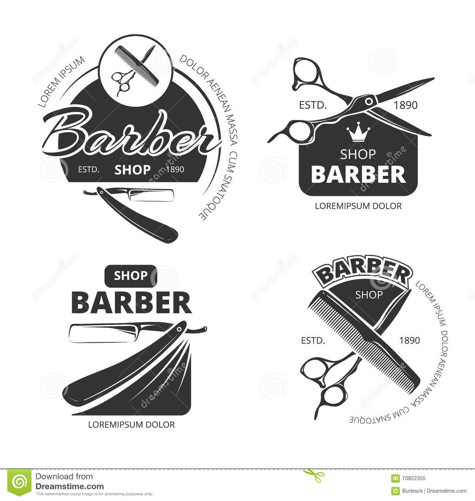 Vector Set Retro Barber Shop Labels Vector Illustration