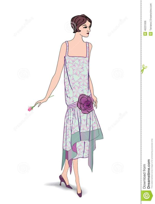 Retro Clip Art Girl In 1930s Fashionstyle Stock Vector