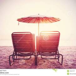 Vintage Beach Chairs Chromcraft Kitchen Chair Parts Retro Filtered Picture Of And Umbrella On