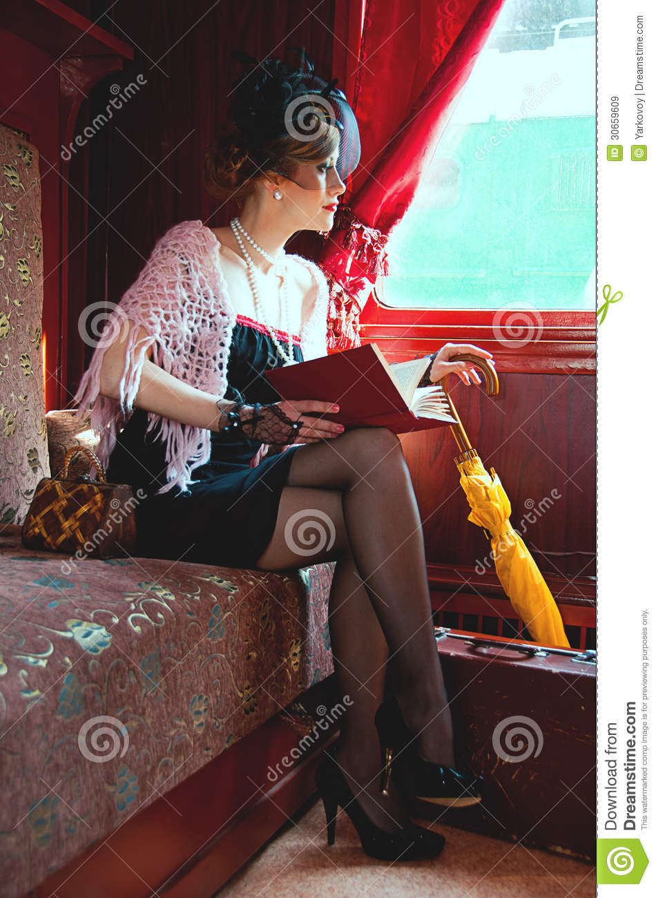 Retro Girl Reading Book In Wagon Train Royalty Free Stock Images  Image 30659609