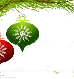 a clip art illustration featuring a pair of retro style christmas ornaments in red and green with decorative snowflake design hanging from a tree branch  [ 1300 x 870 Pixel ]