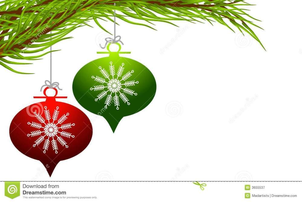 medium resolution of a clip art illustration featuring a pair of retro style christmas ornaments in red and green with decorative snowflake design hanging from a tree branch