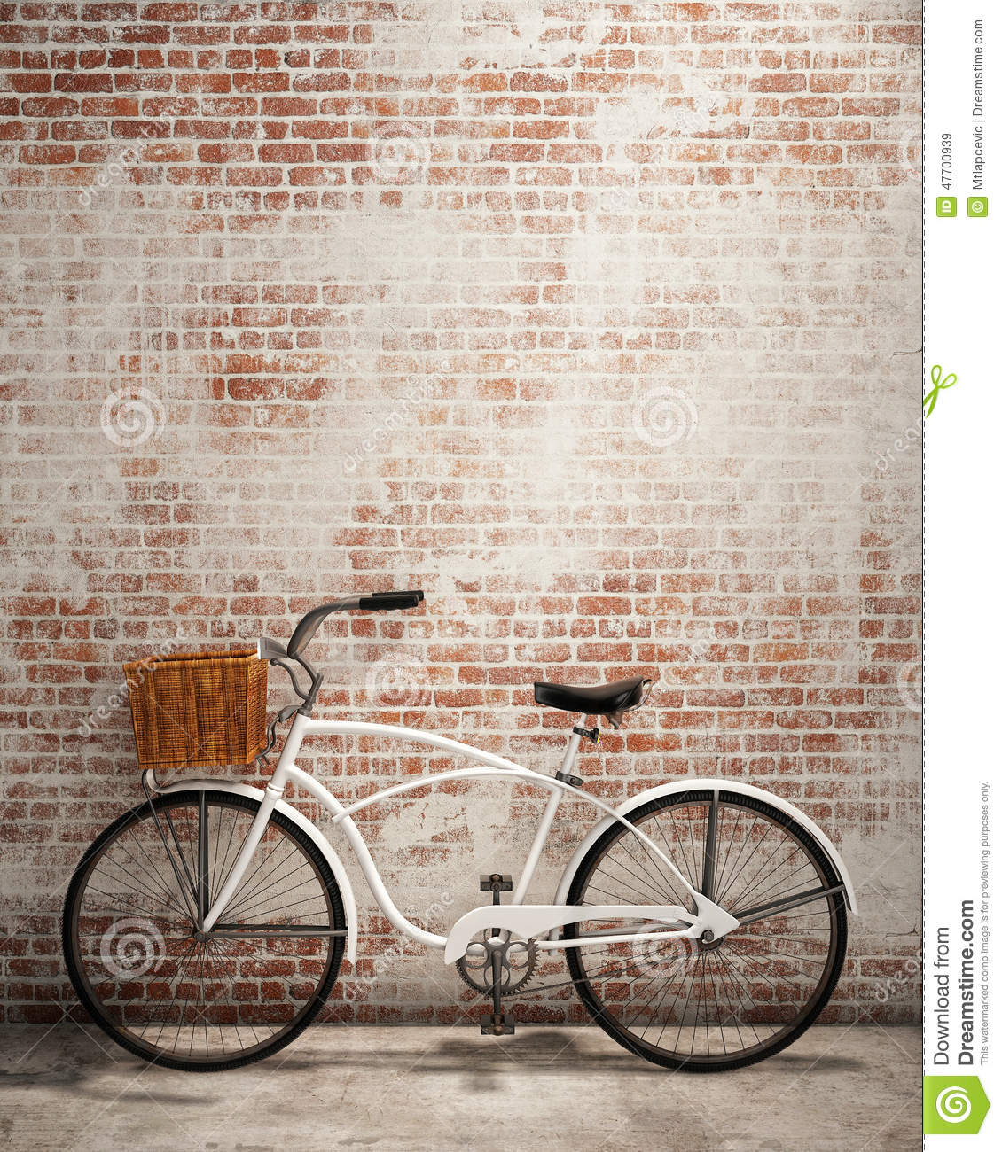 Retro Hipster Bicycle In Front Of The Old Brick Wall