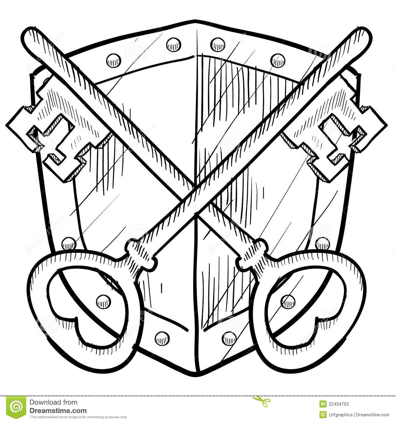 Retro Key And Shield Security Drawing Stock Photos