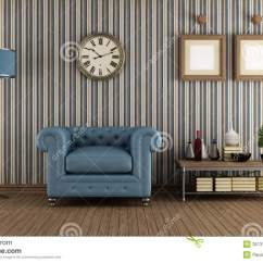 Blue Furniture Living Room Bohemian Modern Retro Stock Illustration. Illustration Of ...