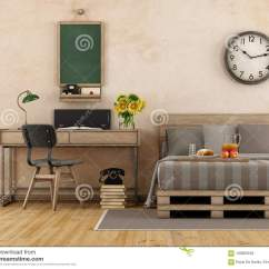 Bedroom Chair Retro Ikea Kids Table And Chairs Mammut Master With Bed Desk 3d Rendering