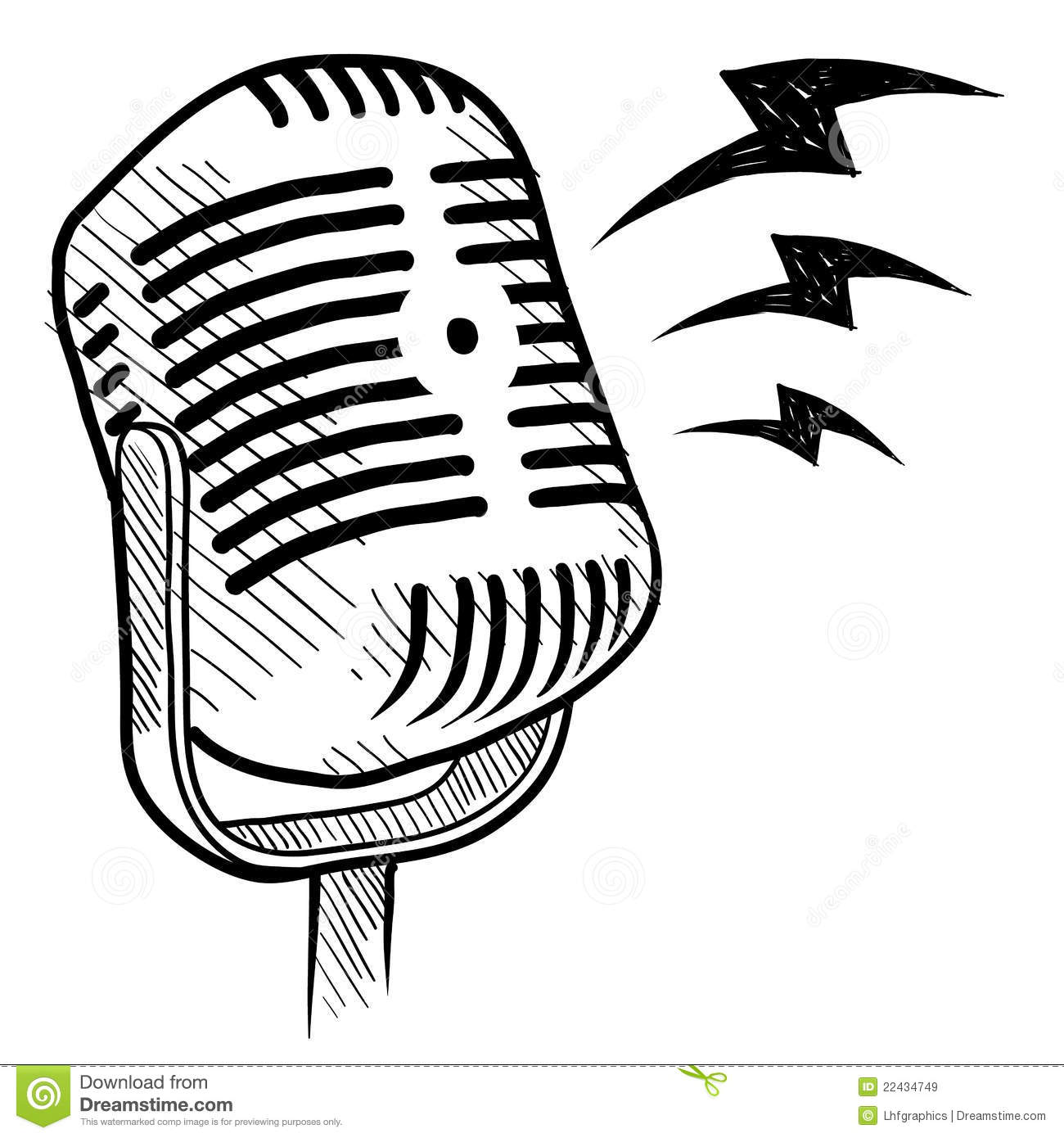 Retro microphone drawing stock vector. Illustration of