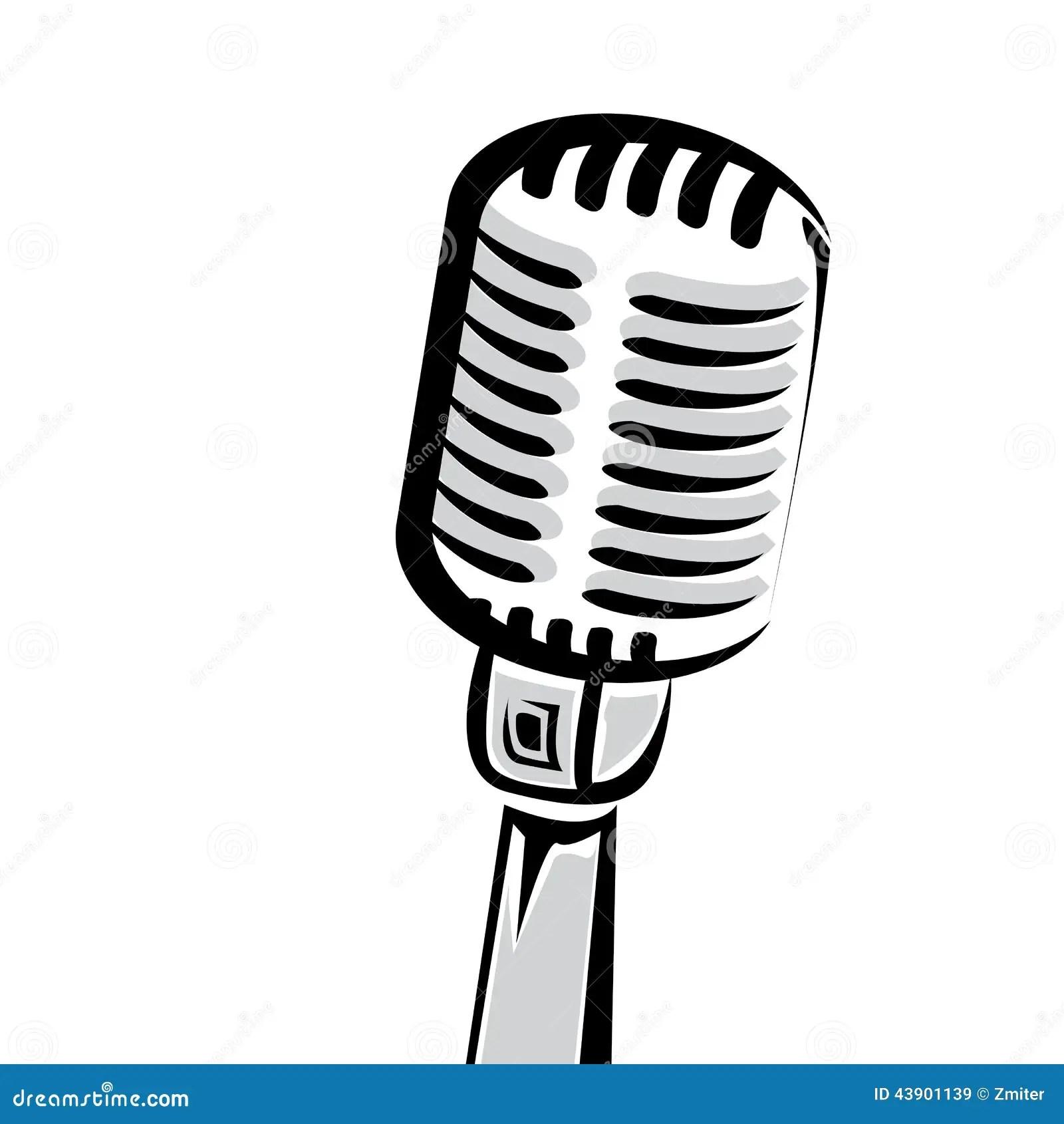 Retro Microphone Silhouette Vector Illustration Stock