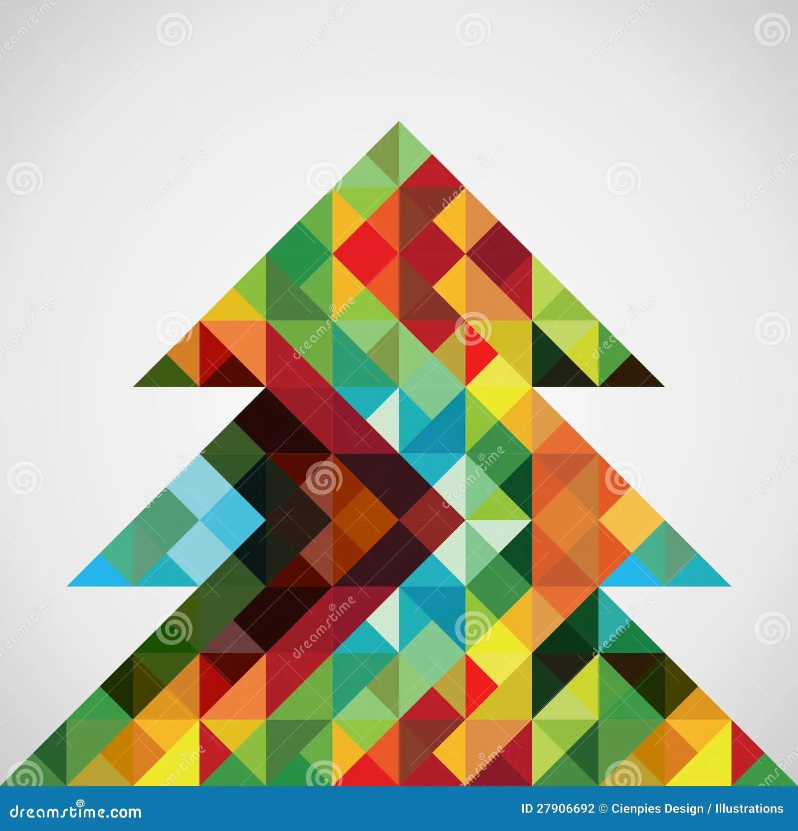 Retro Mosaic Christmas Tree Stock Photography Image