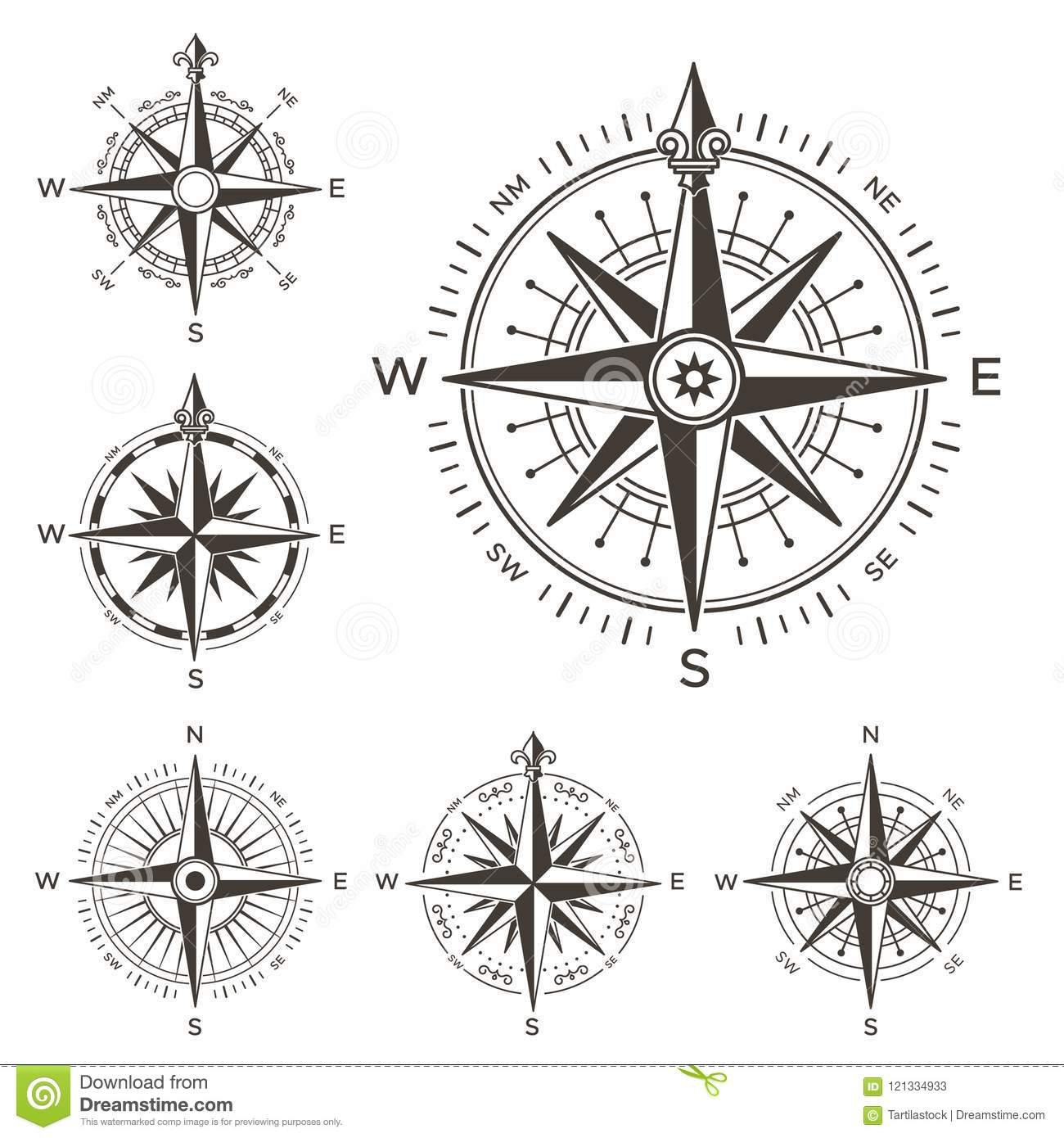 Retro Nautical Compass. Vintage Rose Of Wind For Sea World