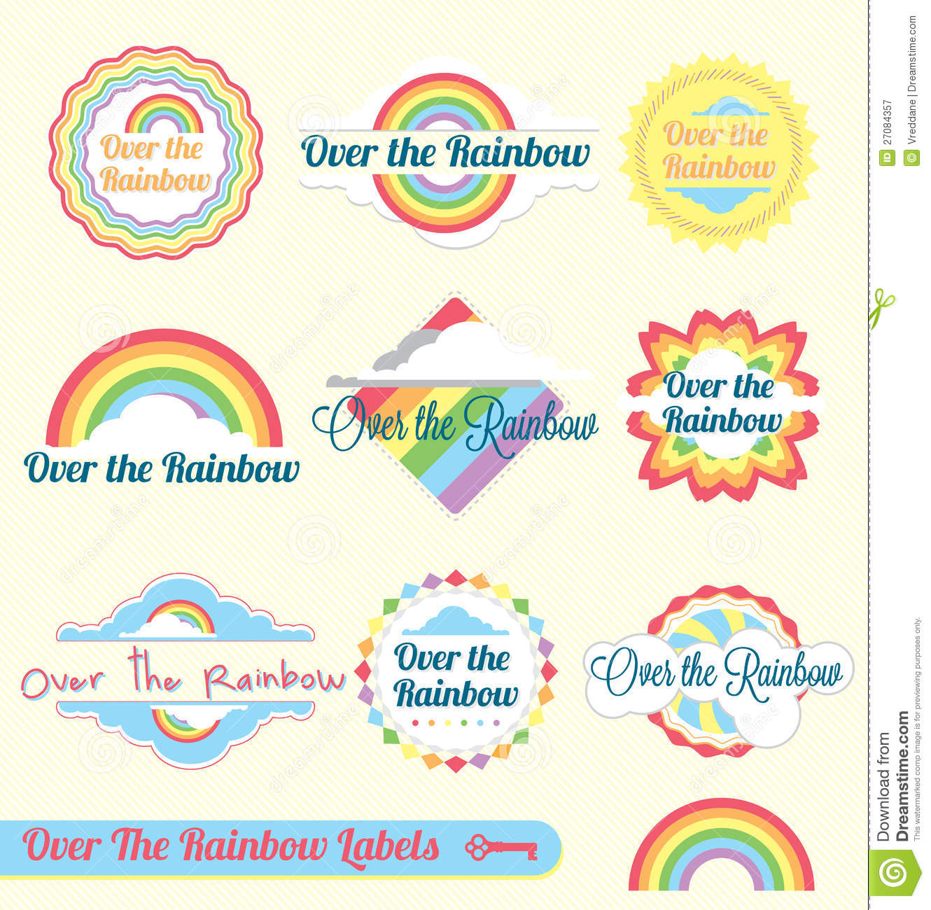 Retro Over The Rainbow Labels And Stickers Stock Vector
