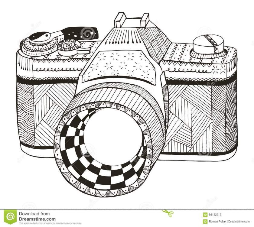 retro photo camera. zentangle stylized. vintage camera