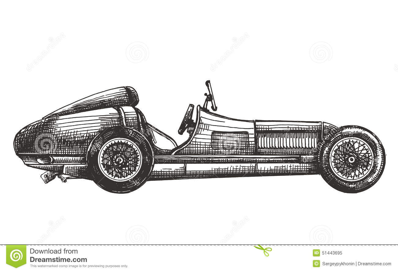 Retro Racing Car On A White Background Sketch Stock