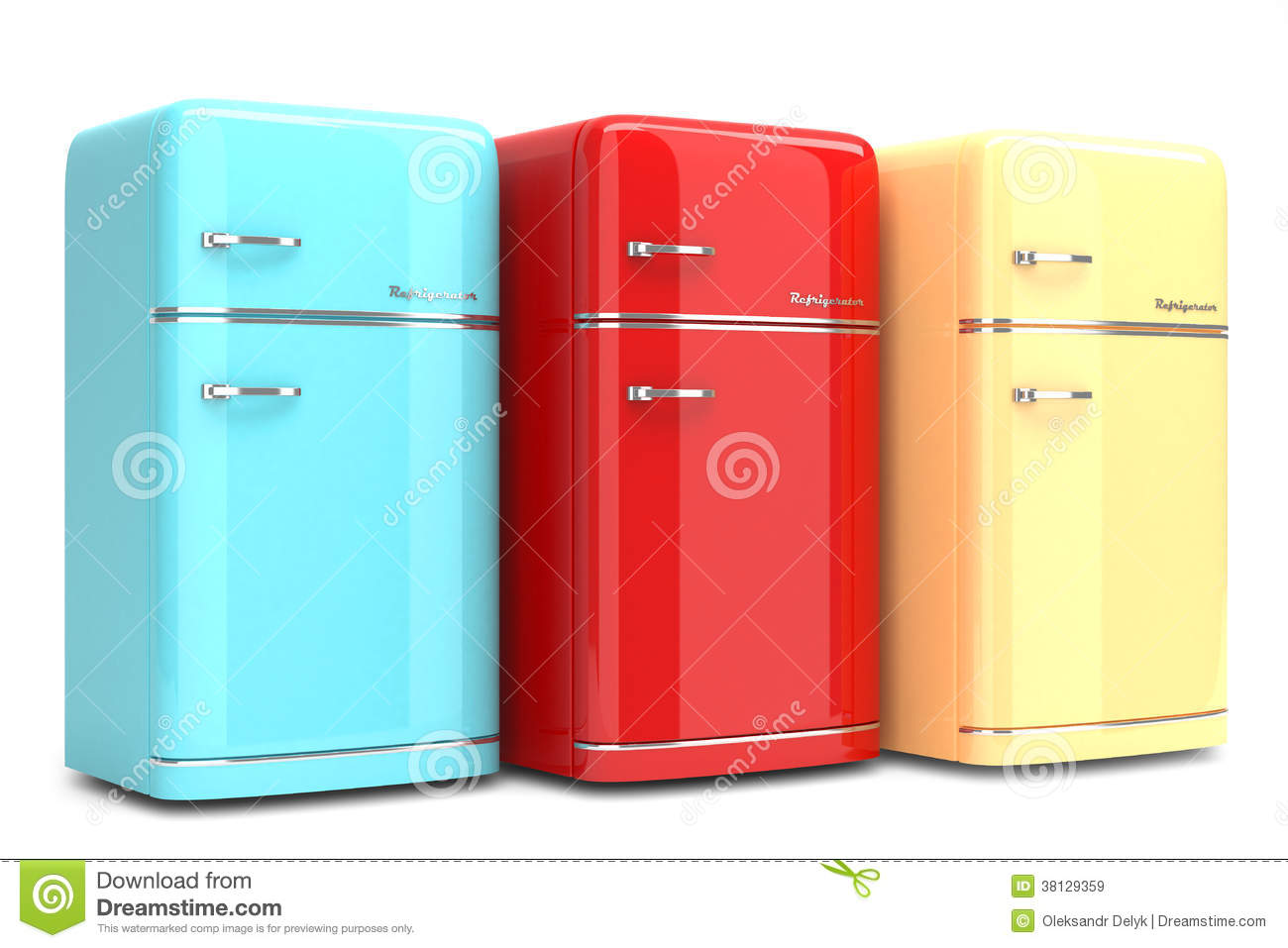 colored kitchen appliances how much does it cost to replace cabinets retro refrigerators royalty free stock images - image ...