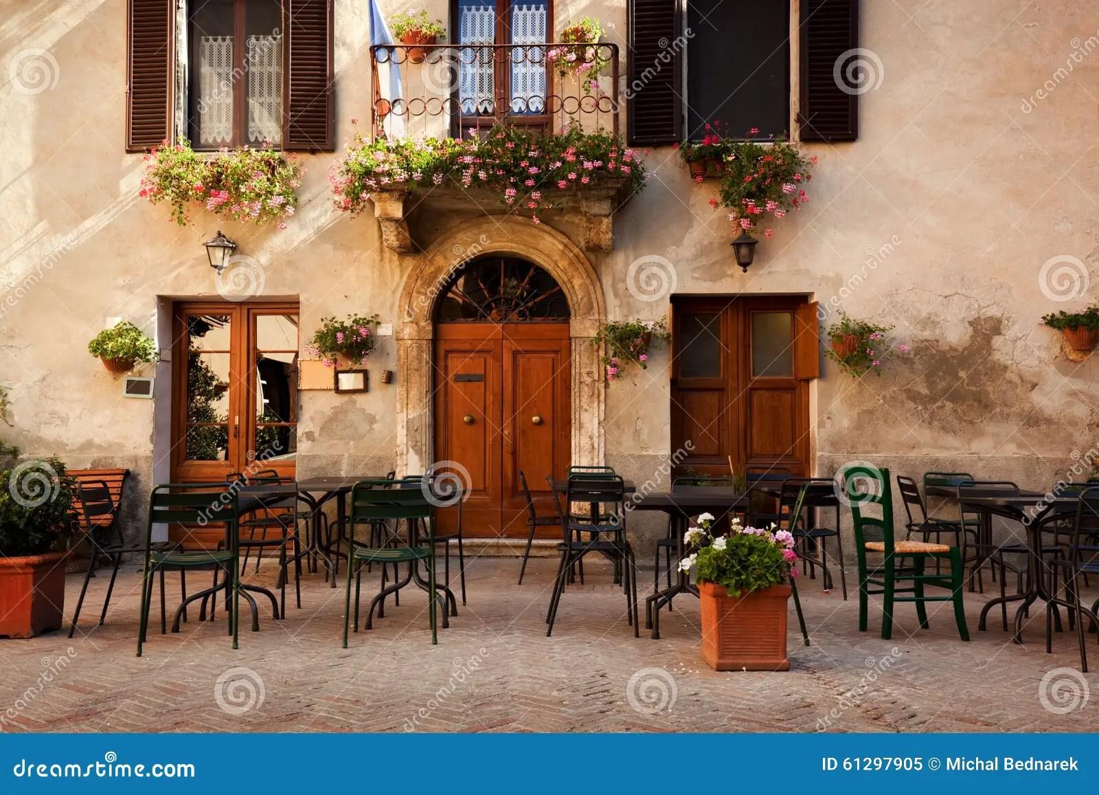 Retro Romantic Restaurant Cafe In A Small Italian Town
