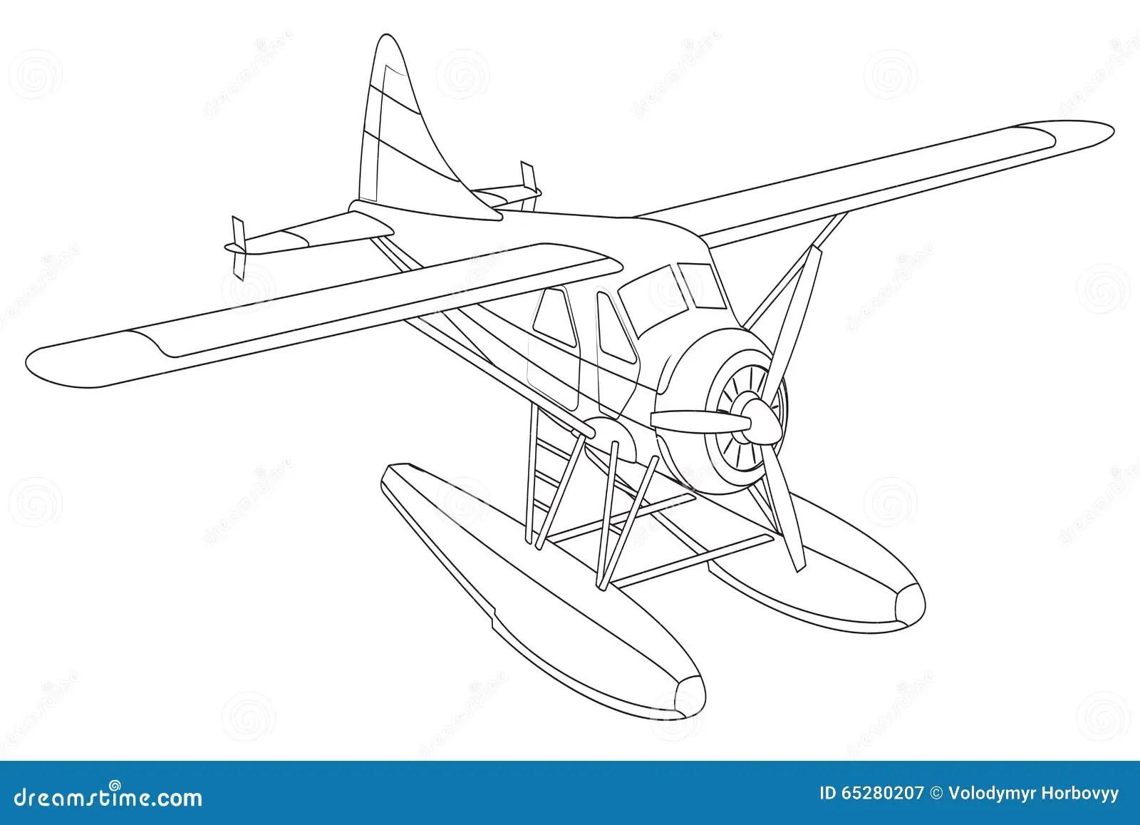 Retro Seaplane Illustration Stock Vector