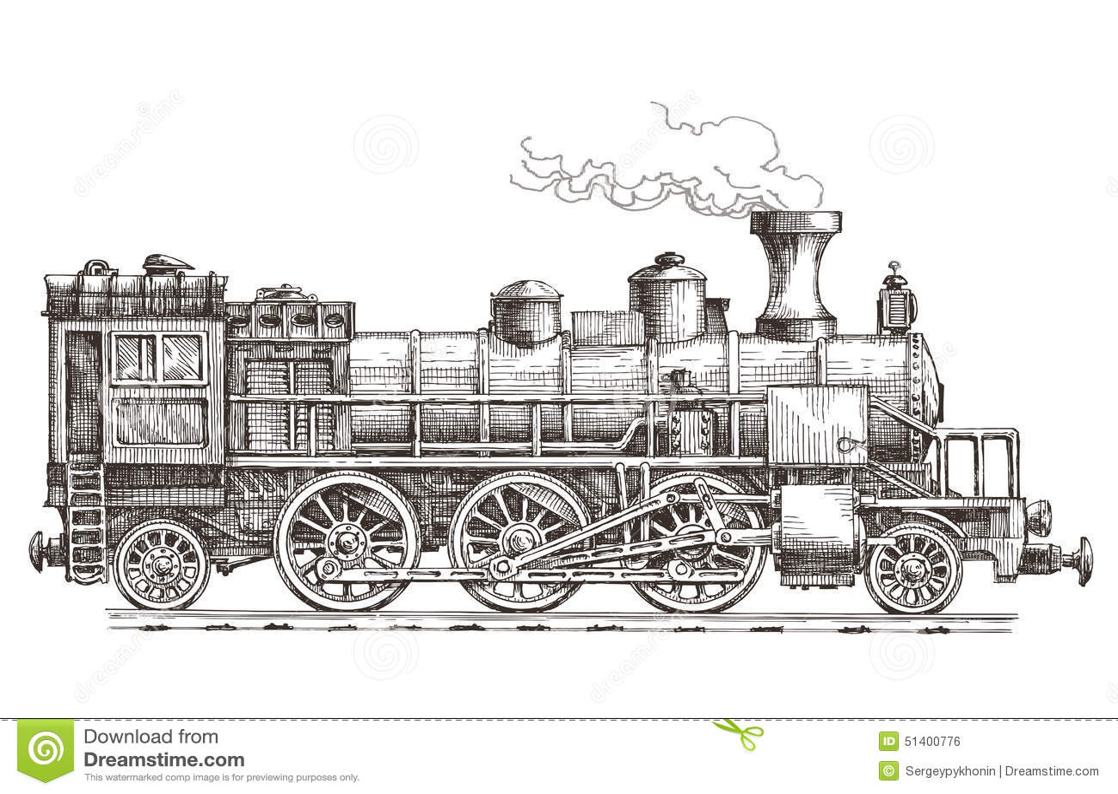 Retro Train On A White Background Stock Illustration
